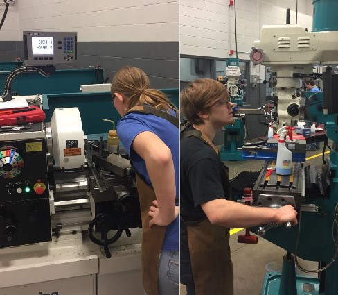 Machining Students Working in the Classroom