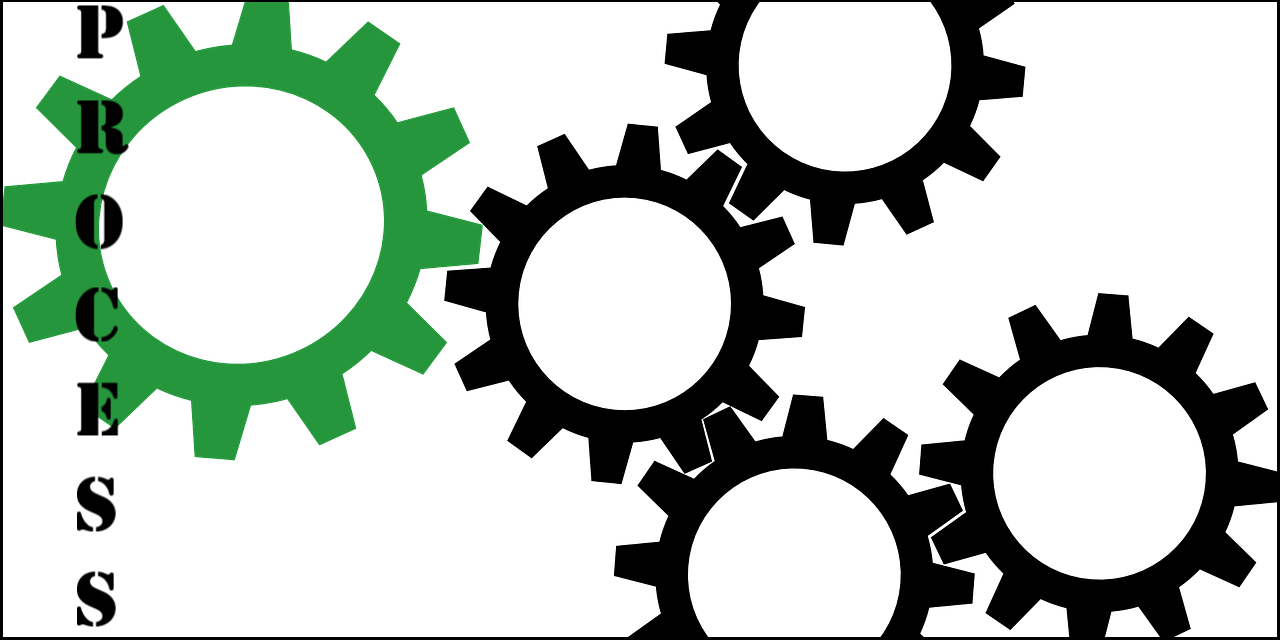Clip Art of Gears with the word Process